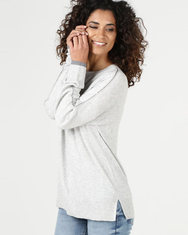 YAYA Lurex Stitch Detail Sweater Grey