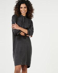 YAYA Rib Cupro Dress Black
