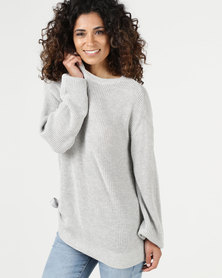 YAYA Roundneck Puff Sleeves Sweater Grey