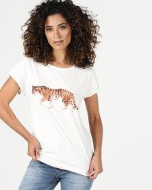 YAYA Tiger Print T-Shirt White