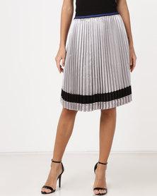YAYA Sporty Plisse Skirt Silver