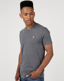 Polo V Neck T-Shirt Charcoal