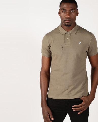 Polo Classic Stretch Pique Short Sleeve Golfer Taupe