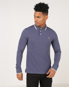 Polo Classic Melange Pique Long Sleeve Golfer Navy