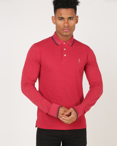 Polo Classic Melange Pique Long Sleeve Golfer Crimson