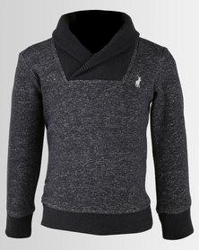 Polo Boys Dean Long Sleeve Shawl Neck Pullover Grey