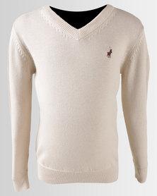 Polo Boys Justin Long Sleeve V-Neck Pullover Stone