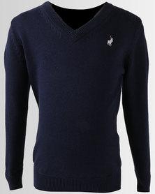 Polo Boys Justin Long Sleeve V-Neck Pullover Navy