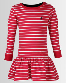 Polo Girls Alexis Long Sleeve Striped Dress Red