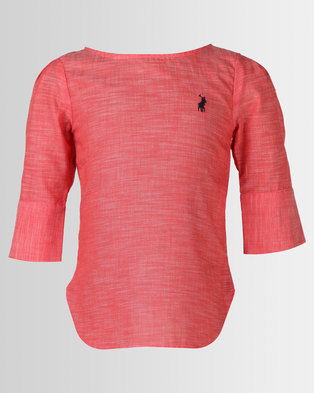 Polo Girls Daniella Long Sleeve Boxy Shirt Coral 2ffc888f22869