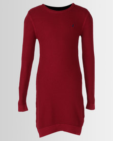 Polo Girls Nicola Long Sleeve Knitted Dress Red