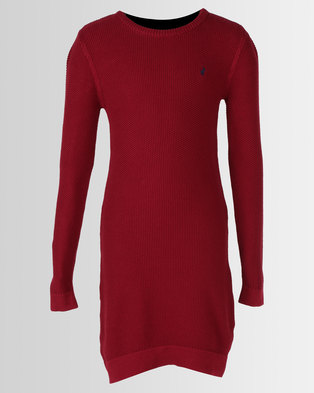 Polo Girls Nicola Long Sleeve Knitted Dress Red fddccac53a4f7