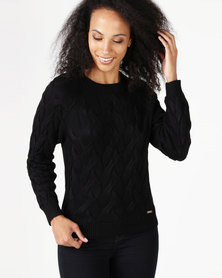 Polo Kerry Long Sleeve Cable Knit Pullover Black