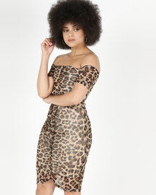 Utopia Bardot Mesh Dress Leopard Print