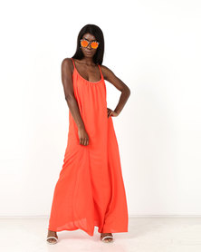 Utopia Georgette Maxi Aline Dress Orange