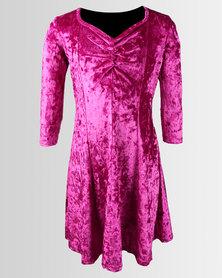 Legit Velour Skater Dress With Ruched Neckline Detail Magenta