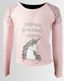 Legit Lace Shoulder Unicorn Screen Pullova Light Pink