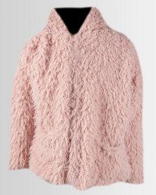 Legit Hooded Teddy Fur  Coat Blush