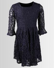 Legit Bell Cuff Lace Skater Dress Navy