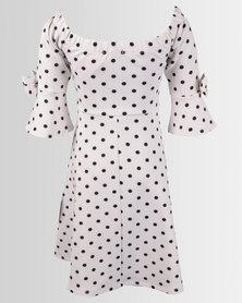 Legit Off The Shoulder Bow Cuff Sleeve Spotty Dress White