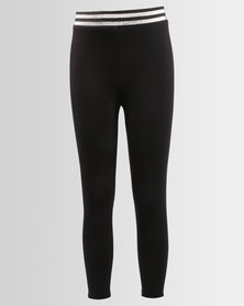Legit Lurex Waistband Leggings Black
