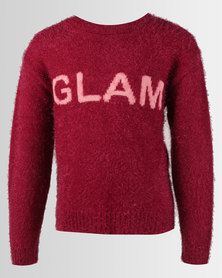 Legit Glam Slogan Fluffy Pullover Burgundy