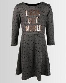 Legit Look Out World Star Ponti Skater Dress Charcoal
