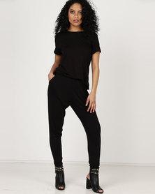 Slick Kiera Overlay Top Jumpsuit Black