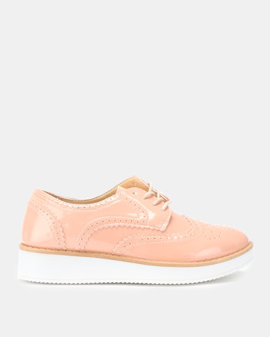 Legit Patent Brogue Oxford Shoe Blush