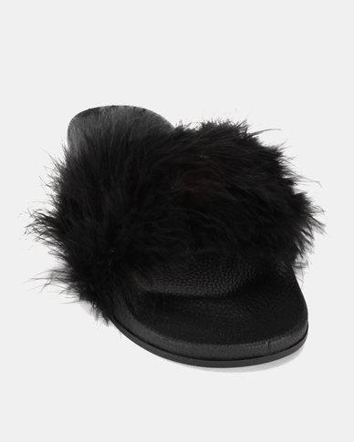 Legit Long Hair Fur Slides Black