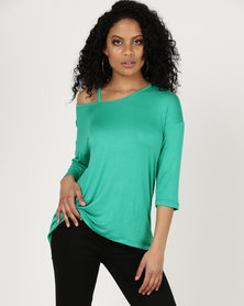 Slick Meli Cut Out Styled Tee Emerald