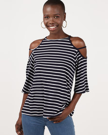 Slick Hailee Cut-Out Sleeve Top Plain Navy/White Stripe