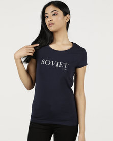 Soviet Short Sleeve Logo T-Shirt Navy