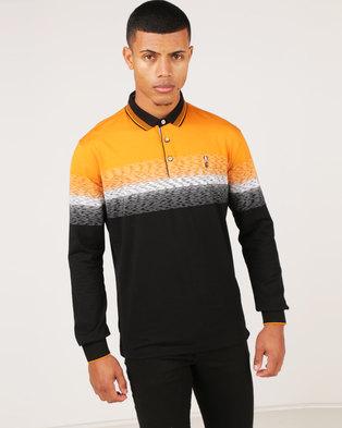 KG Space Dye Stripe Long Sleeve Golfer Black/Toffee