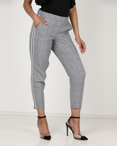 Utopia Check Trousers With Side Stripe Grey