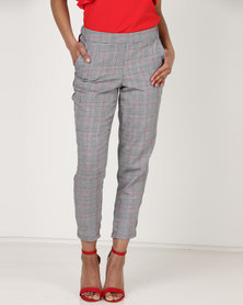 Utopia Check Trousers With Side Stripe Red