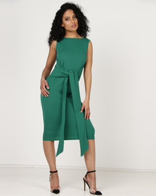 Utopia Tie Front Dress Sleeveless Green