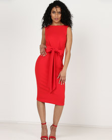 Utopia Tie Front Dress Sleeveless Flame Red