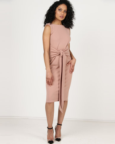 Utopia Tie Front Dress Sleeveless Cafe Blush