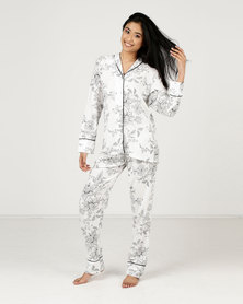 Poppy Divine Printed Rayon Classic PJ Set Ivory with Print and Black Piping Black