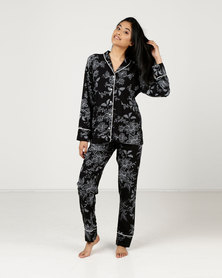 Poppy Divine Printed Rayon Classic PJ Set Black With Ivory Print And Ivory Piping