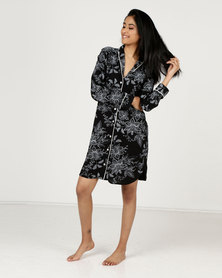 Poppy Divine Printed Rayon Classic Sleep Shirt With Ivory Print And Ivory Piping Black