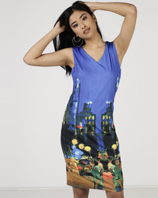 Smashed Lemon City Scape Printed Shift Dress Blue
