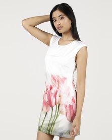 Smashed Lemon Tulip Print Shift Dress White