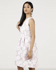 Smashed Lemon Floral Printed Flare Dress Pink