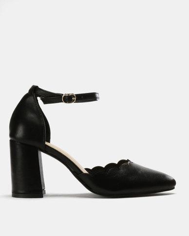 643fc0f71a8 Urban Zone Ankle Strap Heels Black