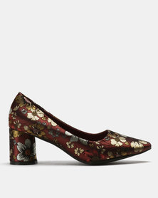 Urban Zone Floral Court Shoes Wine