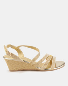 Viameera Metallic Wedges Light Gold