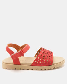 Rock & Co Bannon Flower Punch Out Flower Sandals Red