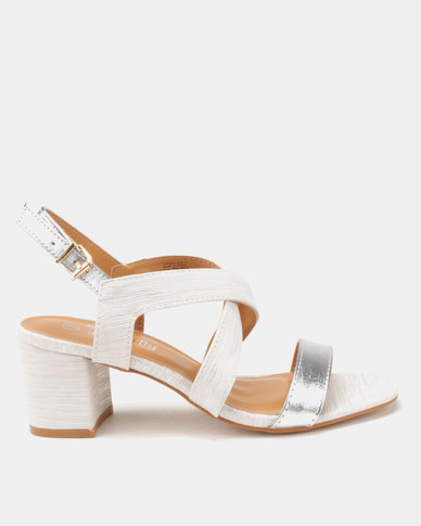 f6a36b3b003 Butterfly Feet Amarah Block Heels Silver